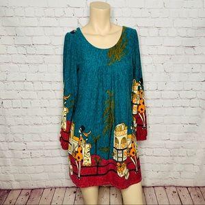 ZARA Long Sleeve Mod Style Fleece Dress Size M